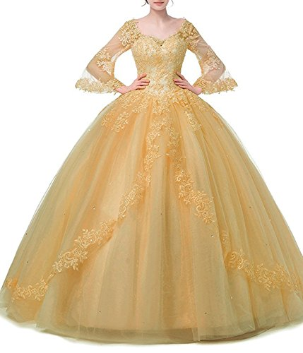 MARSEN Lace Appliques Beaded Evening Ball Gown Long Sleeve A-Line Quinceanera Dress Yellow Size 2