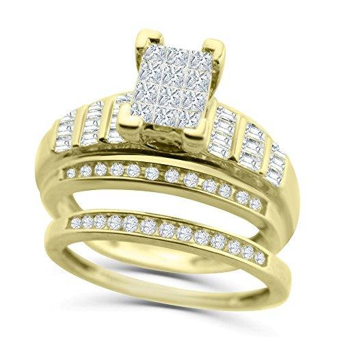 Midwest Jewellery 10K Gold Engagement Ring Set Princess Cut Diamond 3 in 1 Style and Matching Band 1.05ctw (7)