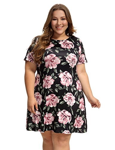 OEUVRE Women's Floral Tunic Shift Short Sleeve Jersey Plus Size Casual Dress Black 26