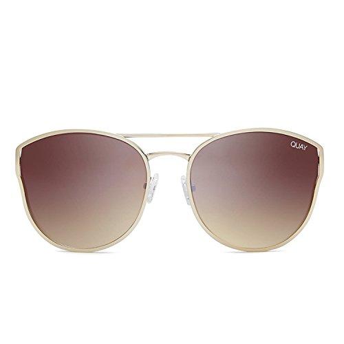Quay Australia CHERRY BOMB Women's Sunglasses Large Round Cat Eye – Gold/Brown