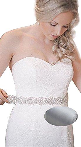 QueenDream Bridal Beaded Sash,Wedding Belt Sash,Rhinestone Sash,Beaded Sash- Silver Sastin Sash