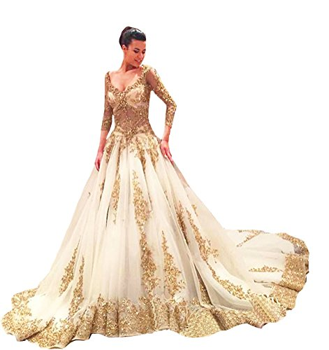 TBGirl Gold Applique See-Through Body Long Sleeve Ball Gown Wedding Dresses