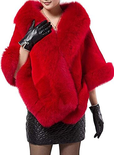 YBB Women's Faux Fur Shawl Stole Wrap Cape Scarf Perfect for Wedding,Party-Red