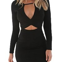 YOINS Women Mini Dress Sexy Bodycon Long Sleeves Zipper Back Party Cocktail Black M