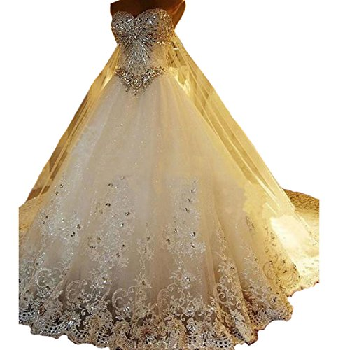 Yuxin Luxury Sweetheart Crystal Beads Wedding Dress 2018 Princess Long Train Lace Ball Gown Wedding Dress for Bride