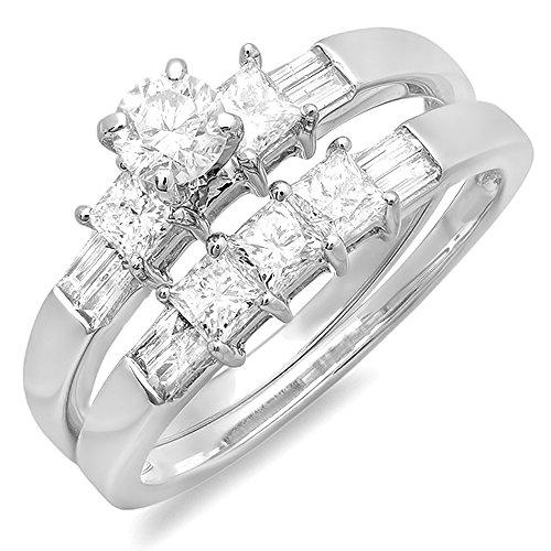 1.00 Carat (ctw) 14K White Gold Round, Princess & Baguette Cut Diamond Ladies Bridal Engagement Ring Set 1 CT