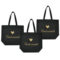 ElegantPark Bridesmaid Tote Bag for Wedding Favor Bachelorette Gifts 100% Cotton Black with Gold Glitter 3 Pcs
