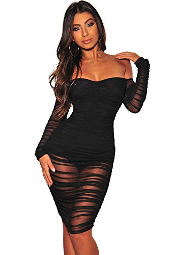 JIMUJIMU Long Sleeve Bodycon Dress Party Night Dresses for Women (Large, Black)