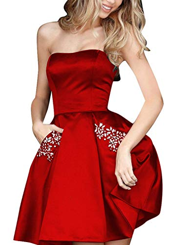Aurora Bridal Womens Short Beading Homecoming Dresses with Pockets 2018 Formal Prom Gown US14 Red