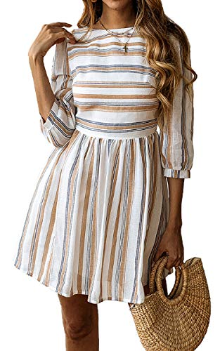 ECOWISH Womens a Line 3/4 Sleeves Striped Dress High Waist Scoop Neck Mini Dress Yellow Blue L