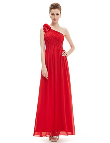 Ever-Pretty Womens One Shoulder Long Formal Chiffon Bridesmaids Dress 10 US Vermillion