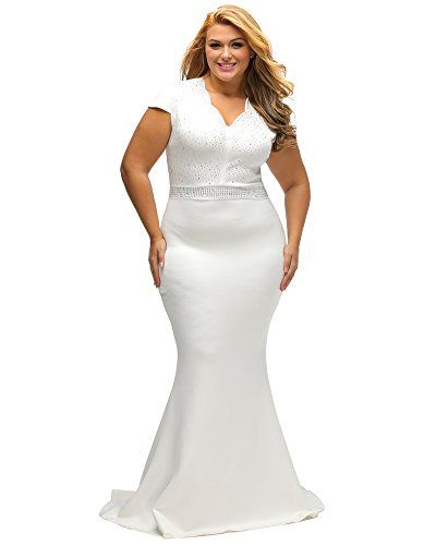 Lalagen Women's Short Sleeve Rhinestone Plus Size Long Cocktail Evening Dress White XXXL