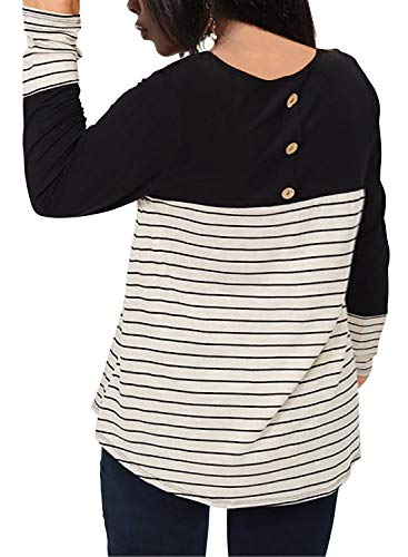 Nemidor Women's Stripe Contrast Round Neck T Shirts Plus Size Casual Top