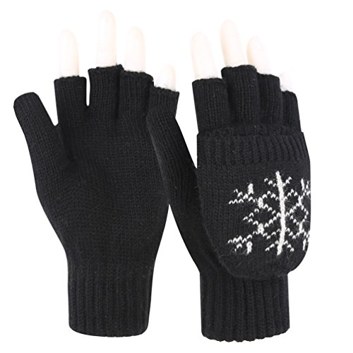 Novawo Women Winter Warm Wool Blend Knitted Convertible Gloves with Snowflake Pattern