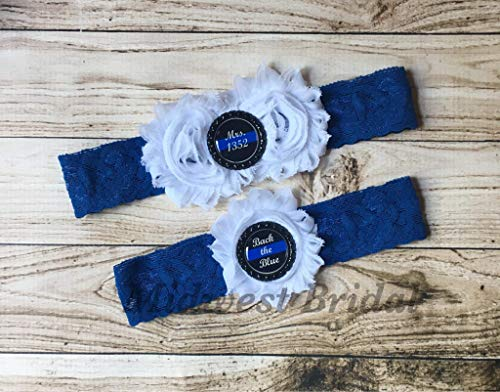 Police Officer's Wife Custom Badge number White Lace Wedding Garter Police Sheriff Thin Blue Line Back the blue