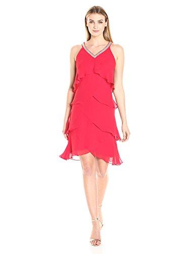 S.L. Fashions Women's Sleeveless Beaded Vneck Chiffon Tier Dress, True/Red, 14