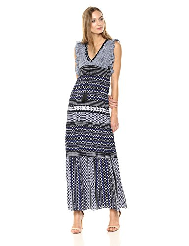 Taylor Dresses Women's Ruffle Sleeve Mix Print v-Neck Maxi Dress, Navy Black Size 8