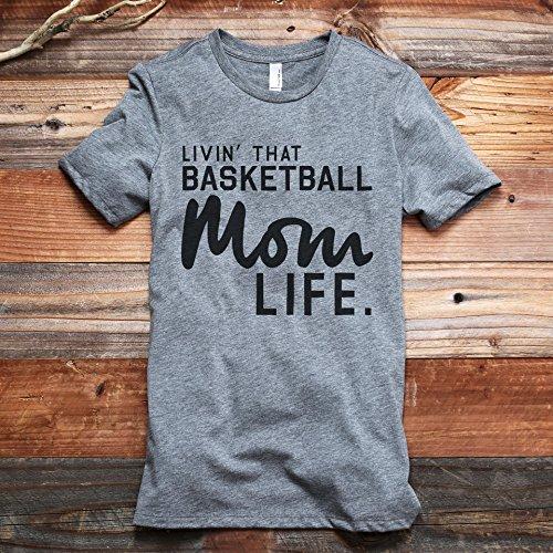 Thread Tank Livin' That Basketball Mom Life Women's Fashion Relaxed T-Shirt Tee Heather Grey