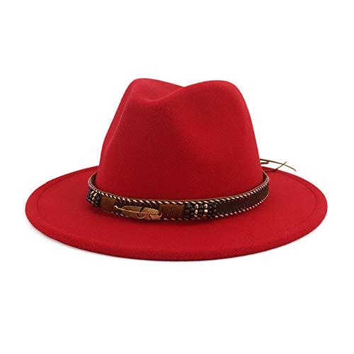 Vim Tree Men Women Ethnic Felt Fedora Hat Wide Brim Panama Hats with Band