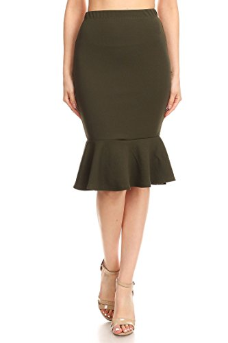 Women's Solid Casual Sexy Elastic Waistband Knee Ruffle Work Pencil Skirts/Made in USA