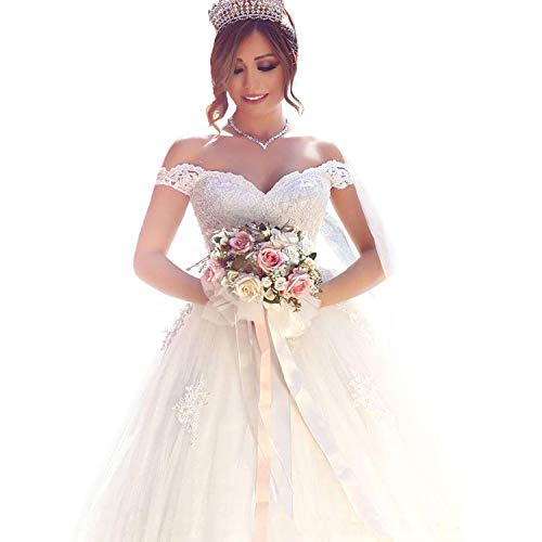 Yuxin Elegant Sweetheart Princess Ball Gown Wedding Dresses 2018 Lace Off Shoulder Bridal Gowns(White,4)
