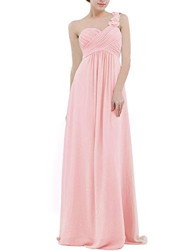 YiZYiF Chiffon Applique One Shoulder Long Bridesmaids Party Dress Pearl Pink 6