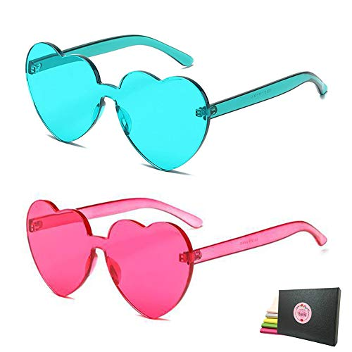Heart Transparent Multicolor Party Favors Big Rimless Sunglasses for Women