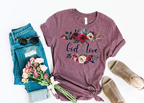 God Is Love, Ladies T Shirt, BoHo T Shirt, Floral, BoHo, Christian Faith, Faith Tee, Women's Tee, Spiritual T Shirt