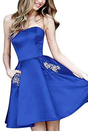 Beilite Strapless Short Prom Crystals Homecoming Dress with Pocket Royal Blue 12