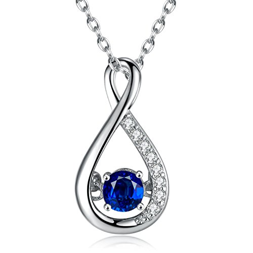 Caperci Sterling Silver Gemstone Created Blue Sapphire Jewelry Infinity Pendant Necklace for Women, 18″