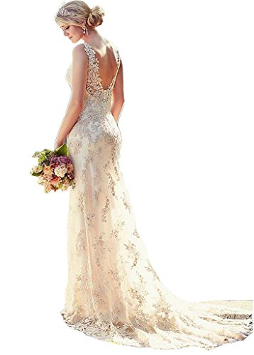 Ikerenwedding Women's Double V-Neck Straps Lace Applique Mermaid Wedding Dresses for Bride US8