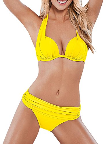 SySea Womens Push Up Halter Bikini Padded Top Ruched Traingle Two Piece Swimsuits Bathing Suits Yellow