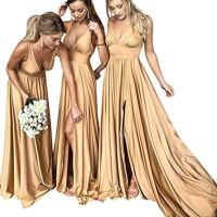MARSEN Bridesmaid Dress V Neck Backless 2018 Women Formal Empire Waist Prom Gown Slit Gold Size 2
