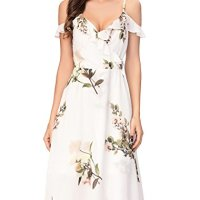 Noctflos Women's Floral Cold Shoulder Midi Holiday Party Dress for Wedding Guest