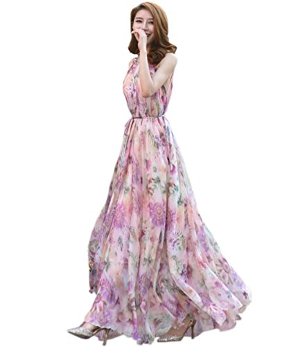 Medeshe Women's Chiffon Floral Holiday Beach Bridesmaid Maxi Dress Sundress (Large Petite, Country Floral)