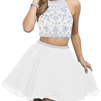 WanFuBridal Women's Halter Beading Homecoming Dresses Two Piece Pleated Cocktail Prom Gowns Short White
