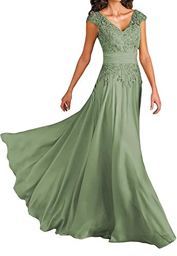 Wedding Dresses for Mother of The Bride V-Neck Cap Sleeve Formal Evening Gown for Women Sage Green