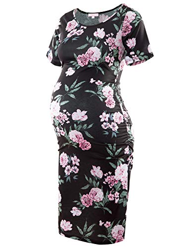 Floral Maternity Dress Short Sleeve Bodycon Ruched Side Knee Length Dress Dark Black with Pink Flower XXL