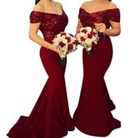 LeoGirl Women's Off Shoulder Sequins Satin Bridesmaid Dress Long Mermaid Wedding Party Gown Burgundy 10