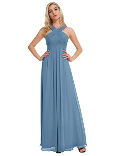 Alicepub Pleated Chiffon Bridesmaid Dresses Formal Party Evening Gown Maxi Dress for Women, Dusty Blue, US10