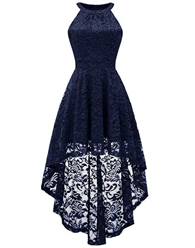 BeryLove Women's Halter Hi-Lo Floral Lace Cocktail Dress Sleeveless Bridesmaid Formal Swing Dress BLP7028Navy2XL
