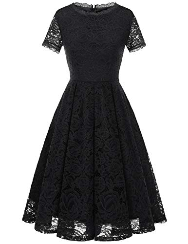 DRESSTELLS Women's Bridesmaid Vintage Tea Dress Floral Lace Cocktail Formal Swing Dress Black L