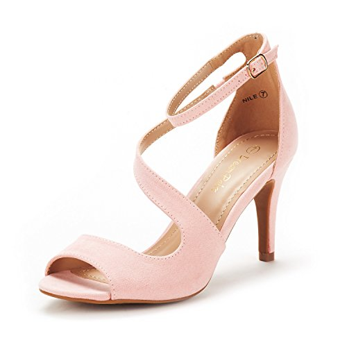 DREAM PAIRS Women's Nile Pink Fashion Stilettos Open Toe Pump Heel Sandals Size 5 B(M) US