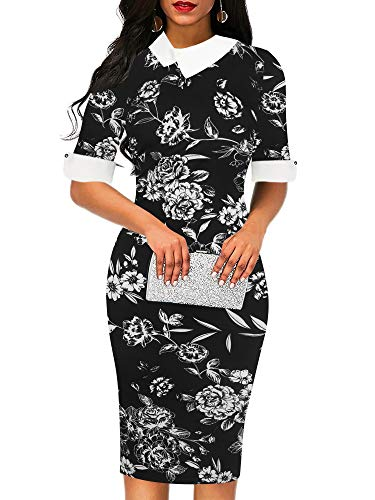 oxiuly Women's Retro Bodycon Knee-Length Formal Office Dresses Pencil Dress OX276 (M, BKWDAF)