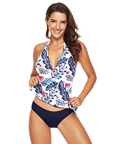 Seabye Womens Two Piece Halter Tankini Swimsuits Sexy V Neck Backless Bathing Suits Self Tie Polka Dots Swimwear (XL/US 16-18, Blue Floral)