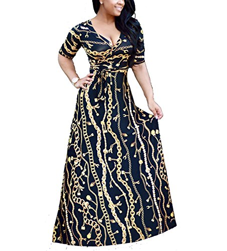 shekiss Womens Casual Sexy V Neck Long Sleeves Printed Loose Stretch Floor Length Maxi Prom Party Dress With Belt,Blackgold,3X