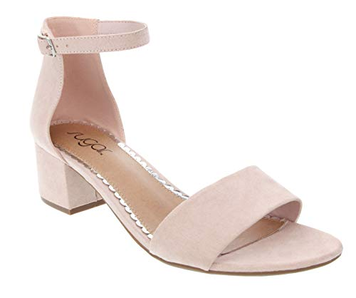 Sugar Women's Noelle Low Two Piece Block Heel Dress Shoe Ladies Ankle Strap Pump Sandal Blush 7.5