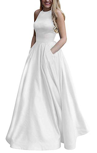 Women's Long Halter Satin Prom Dresses Long A Line Open Back Evening Gowns with Pockets White US14