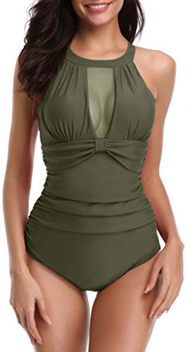 Yong Dong Bathing Suits for Women Slimming One Piece Swimsuits Halter Swimwear Amy Green S