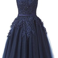 Bridesmaid Dresses Tulle Lace Junior's Formal Cocktail Applique Homecoming Dresses Evening Gowns Navy Blue US6